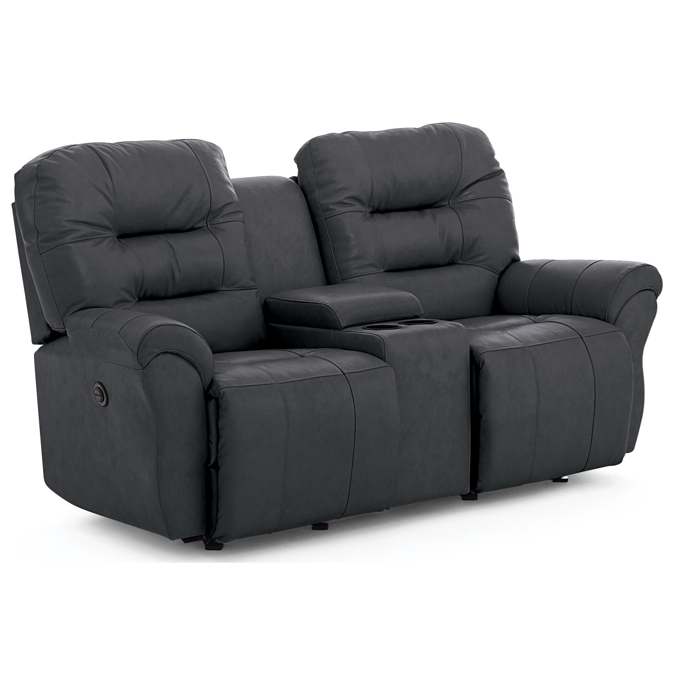 Leather Match Console Reclining Loveseat