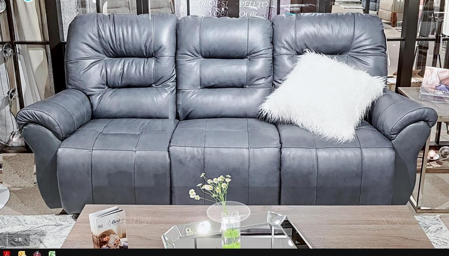 Leather Match Reclining Chaise Sofa