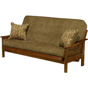 Transitional Style Mesa Futon With Open Slat Arms