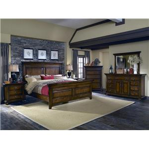 BK Home Jakes Tavern King Panel Bed, Dresser, Mirror & Nightstand