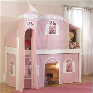 Vendor 3413 Kids Cottage Low Loft Castle Bed