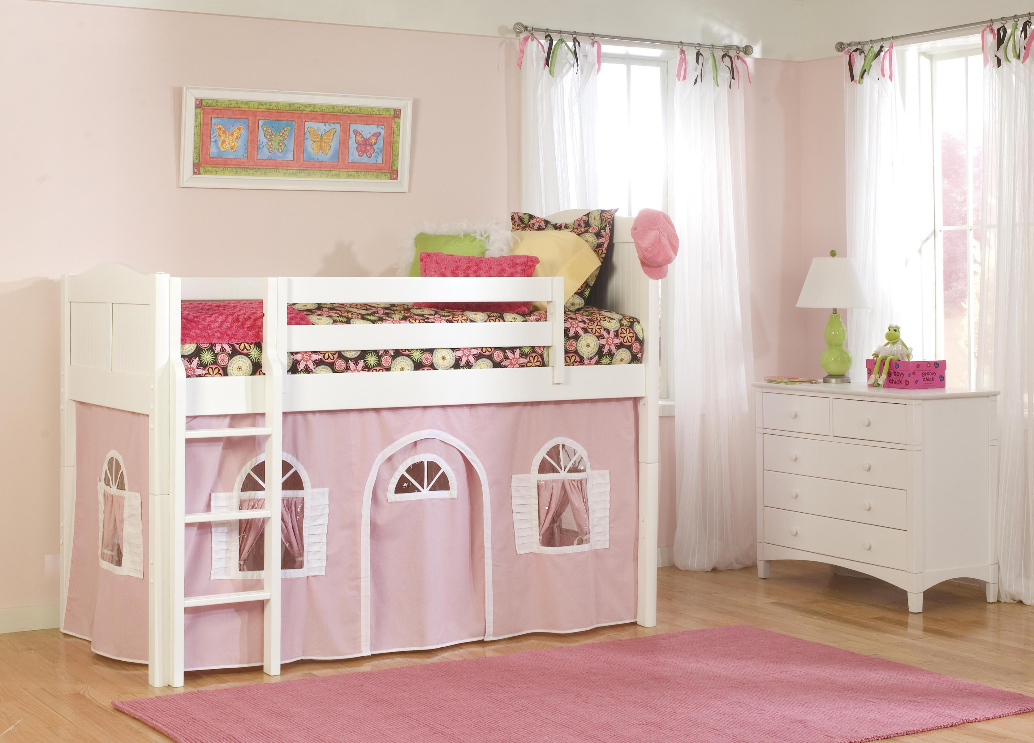 Bolton Mulberry -- Mulberry Twin Loft Bed with Bottom Tent - Item Number: 475181500