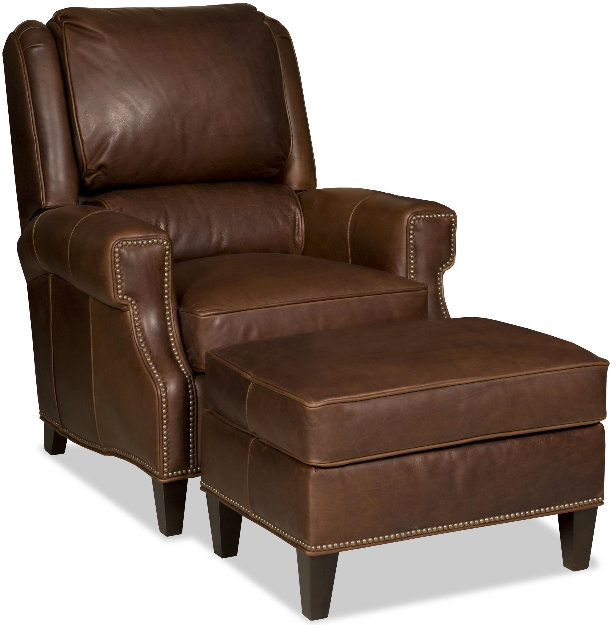 Bradington Young Milo Transitional Reclining Chair And Ottoman Set With Nailheads Jacksonville