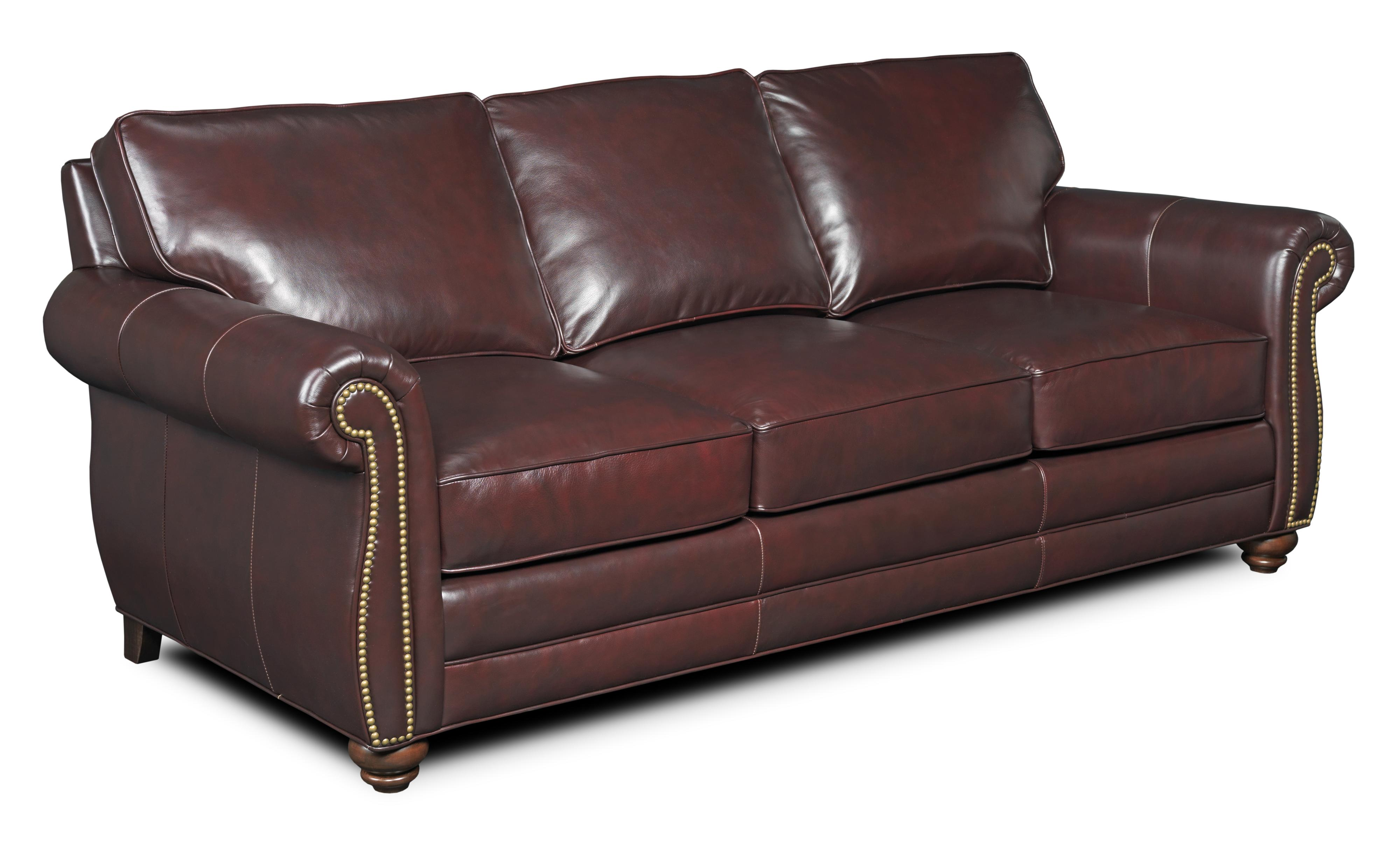 Nebo Traditional Leather Sofa With Turned Arms And Nail Head Trim By Bradington  Young