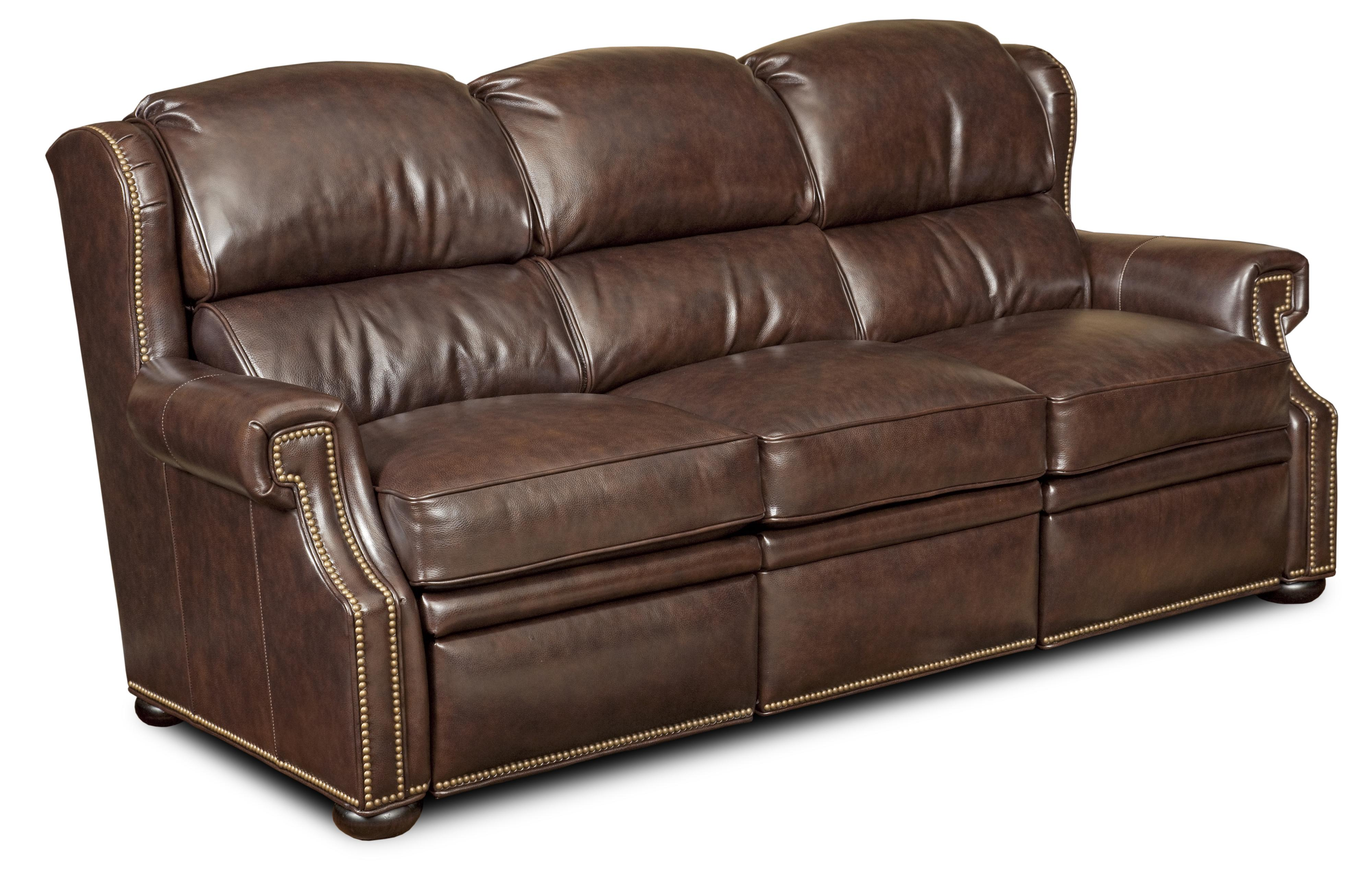 Reid Traditional Dual Reclining Sofa With Nailheads And Bun Feet By  Bradington Young