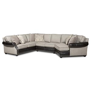 Bradington Young Warner  3 Pc Sectional Sofa w/ RAF Cuddler