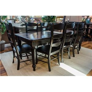 Bramble Dining Table and Chair Sets Farmhouse Dining Table & 8 Ladderback Side C