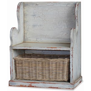 Bramble Homestead Lincoln Entry Bench, Small, with Basket