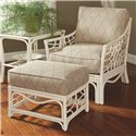 Braxton Culler 909 Tropical Rattan Ottoman with Rattan Lattice - Shown with Chair