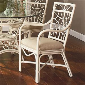 909 Tropical Rattan Dining Arm Chair with Upholstered Seat by Braxton Culler