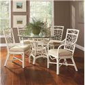 Vendor 10 909 Tropical Rattan Dining Arm Chair with Upholstered Seat - Shown with Round Table