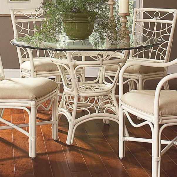 Braxton Culler 909 Tropical Rattan Dining Table With 48 Round Beveled Glass Top