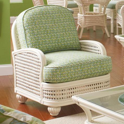 Captiva Tropical Wicker Chair With Upholstered Seat And Turned Bun Feet By Braxton  Culler