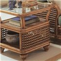 Braxton Culler Captiva  Tropical Wicker End Table with Glass Top and Two Shelves - 1952-071