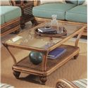 Braxton Culler Captiva  Tropical Wicker Coffee Table with Beveled Glass Top - 1952-072