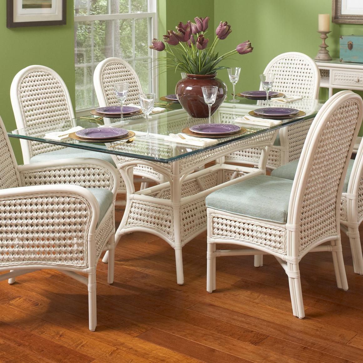 Braxton Culler Captiva Tropical Rectangular Glass Table With Wicker Base