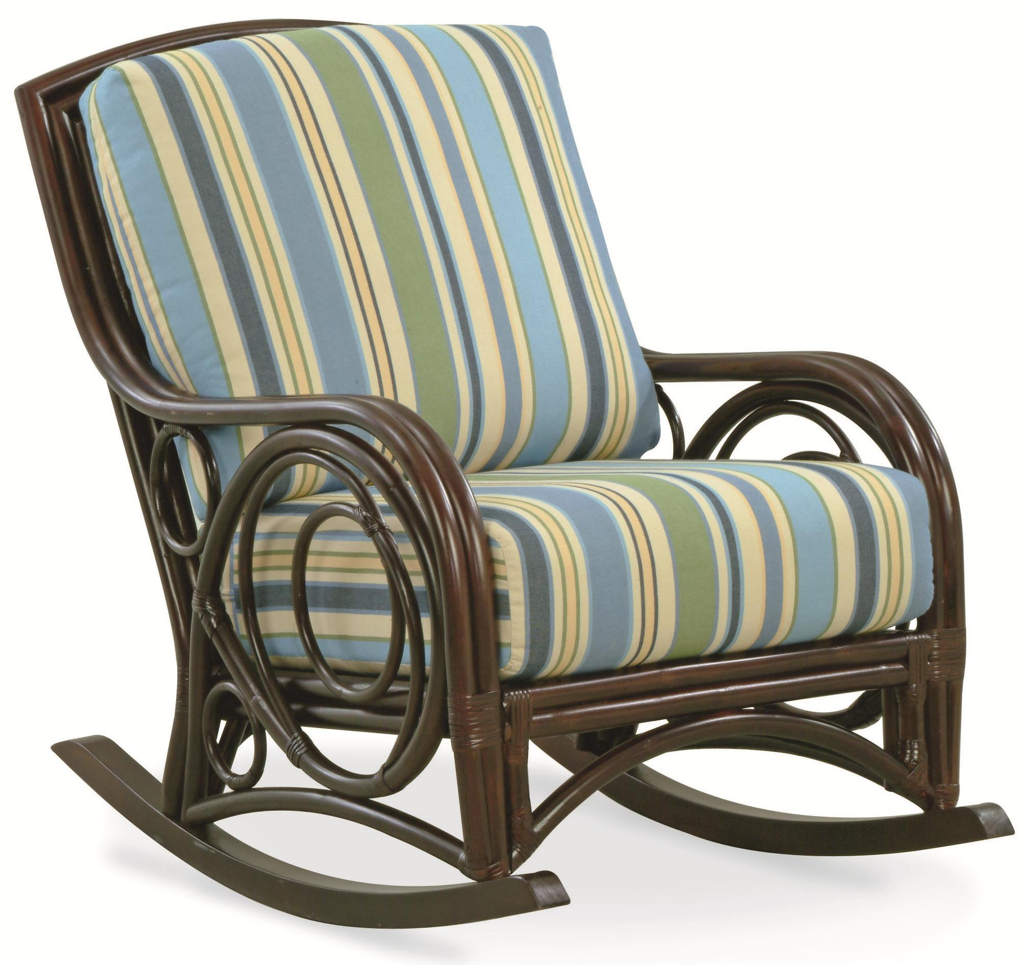 Braxton Culler Cotton House  Rattan Wicker Rocking Chair With Upholstered Seat And Back Ahfa Upholstered Rocker Dealer Locator