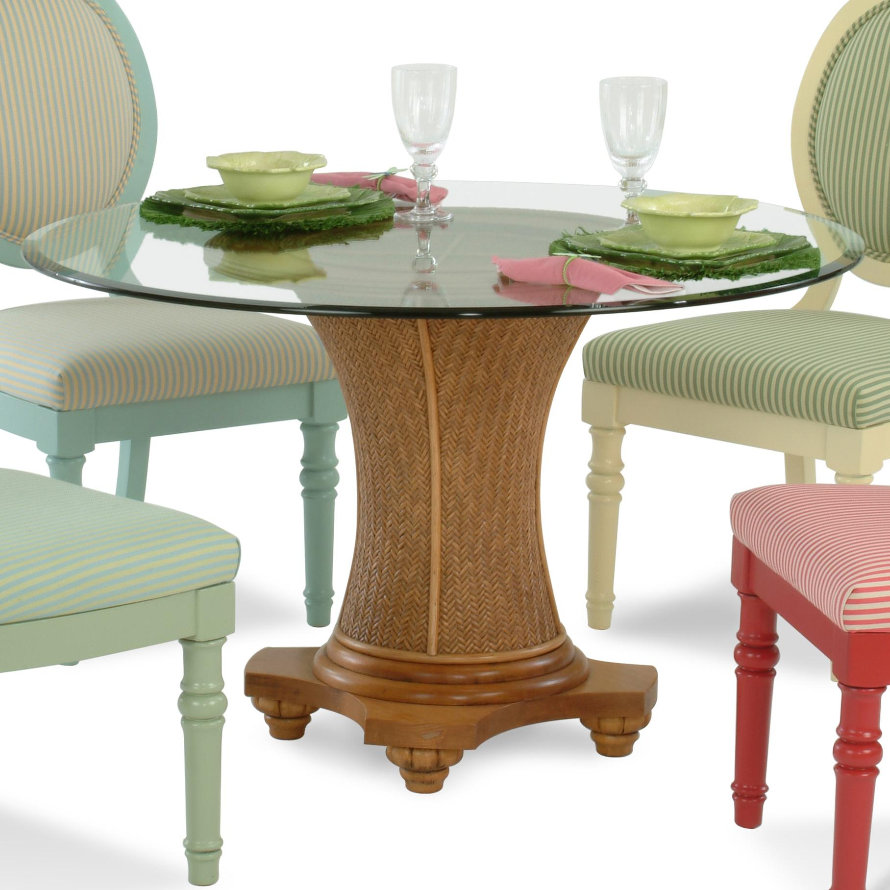 Braxton Culler Sawgrass Tropical Round Glass Table With Wicker Pedestal
