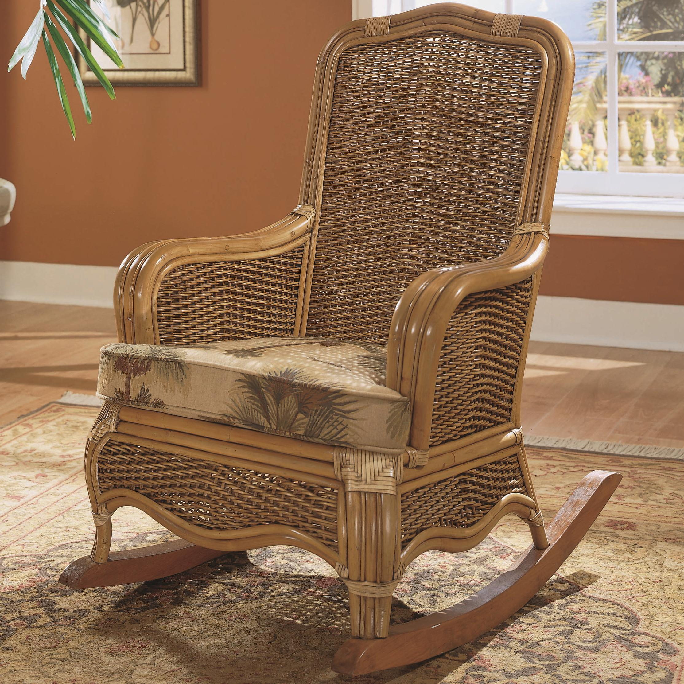 Braxton Culler Shorewood Tropical Rattan Rocking Chair with Loose