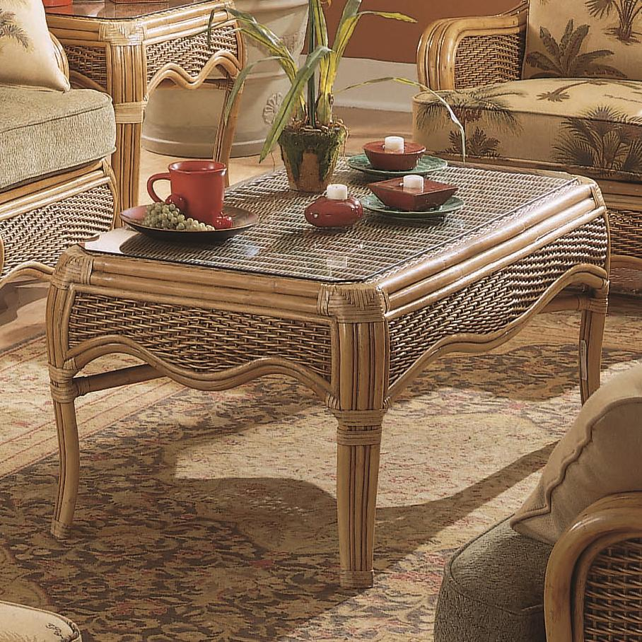 Shorewood Tropical Rattan Coffee Table With Flared Legs By Braxton Culler