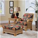 Braxton Culler 953 Ottoman with Exposed Wood - 953-009 - Shown with Matching Chair