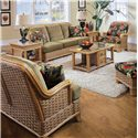 Vendor 10 953 Stationary Sofa with Exposed Wood - Shown with End Table, Cocktail Table, Chair, Loveseat