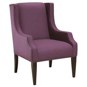Brentwood Classics 184 Modern Wing Chair with Smooth Upholstered Track Arms