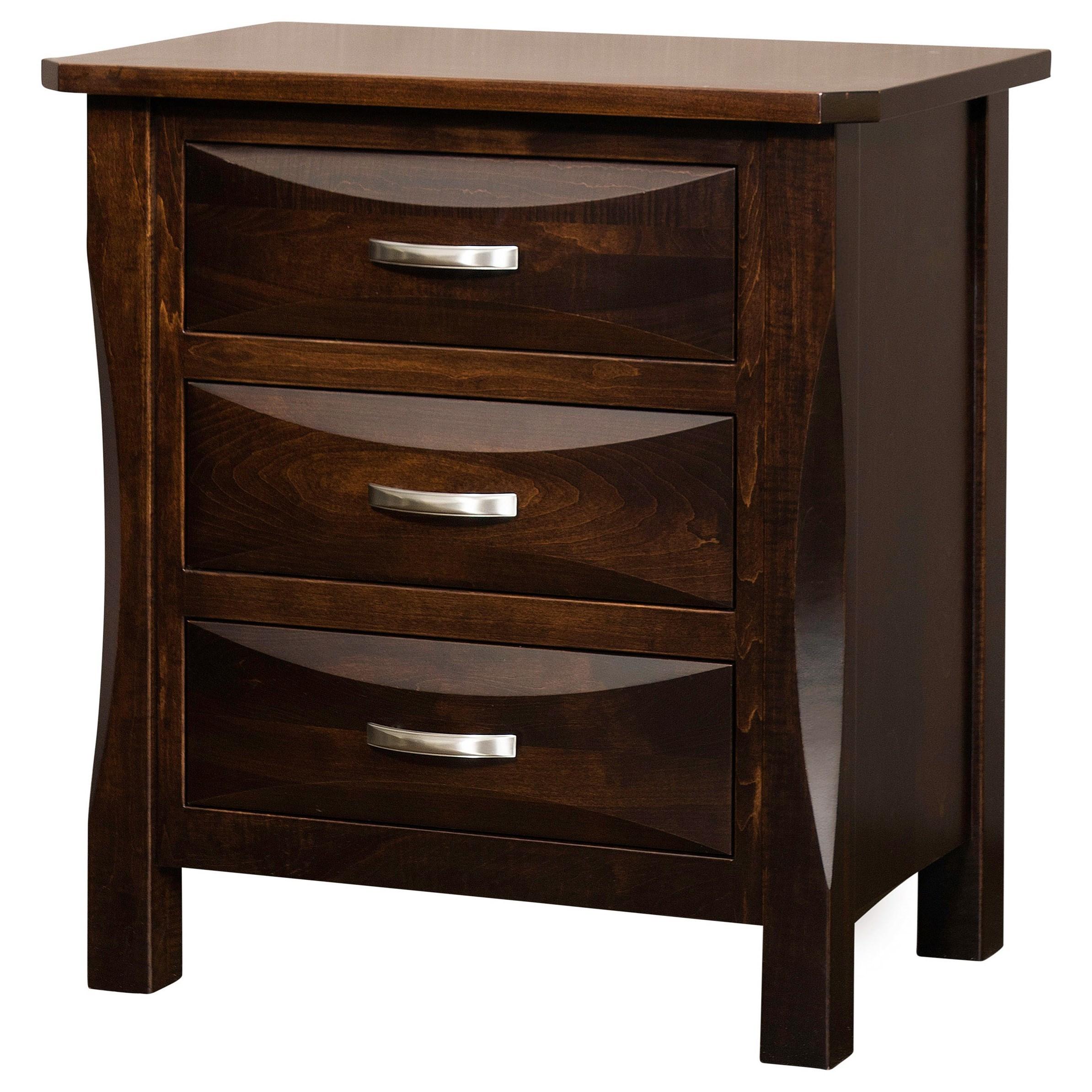 Preston 3 Drawer Night Stand by Brookside Furniture at Mueller Furniture