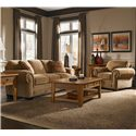 Broyhill Express Cambridge Quick Ship Transitional Stationary Sofa with Nail Head Trim - Shown in Room Setting with Matching Chair