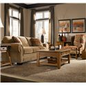 Broyhill Express Cambridge Quick Ship Transitional Stationary Sofa with Nail Head Trim - Shown in Room Setting with Accent Chair