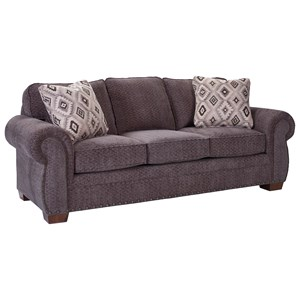 Cambridge Quick Ship Transitional Stationary Sofa with Nail Head Trim by Broyhill Express