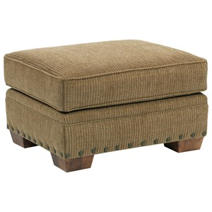 Cambridge Quick Ship Ottoman with Wood Feet by Broyhill Express