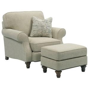 Chair & 1/2 and Ottoman Set