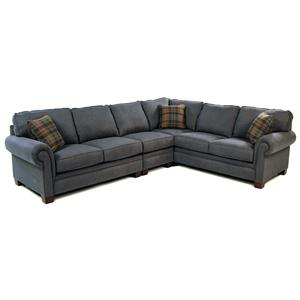 Broyhill Furniture Choices 3PC Sectional w/ Panel Arm & Wedge Foot