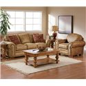 Broyhill Furniture Cambridge Casual Style Chair with Nail Head Trim - Shown in Room Setting with Sofa