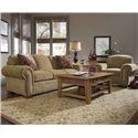 Broyhill Furniture Cambridge Casual Style Sofa with Nail Head Trim - 5054-3 - Shown with Chair