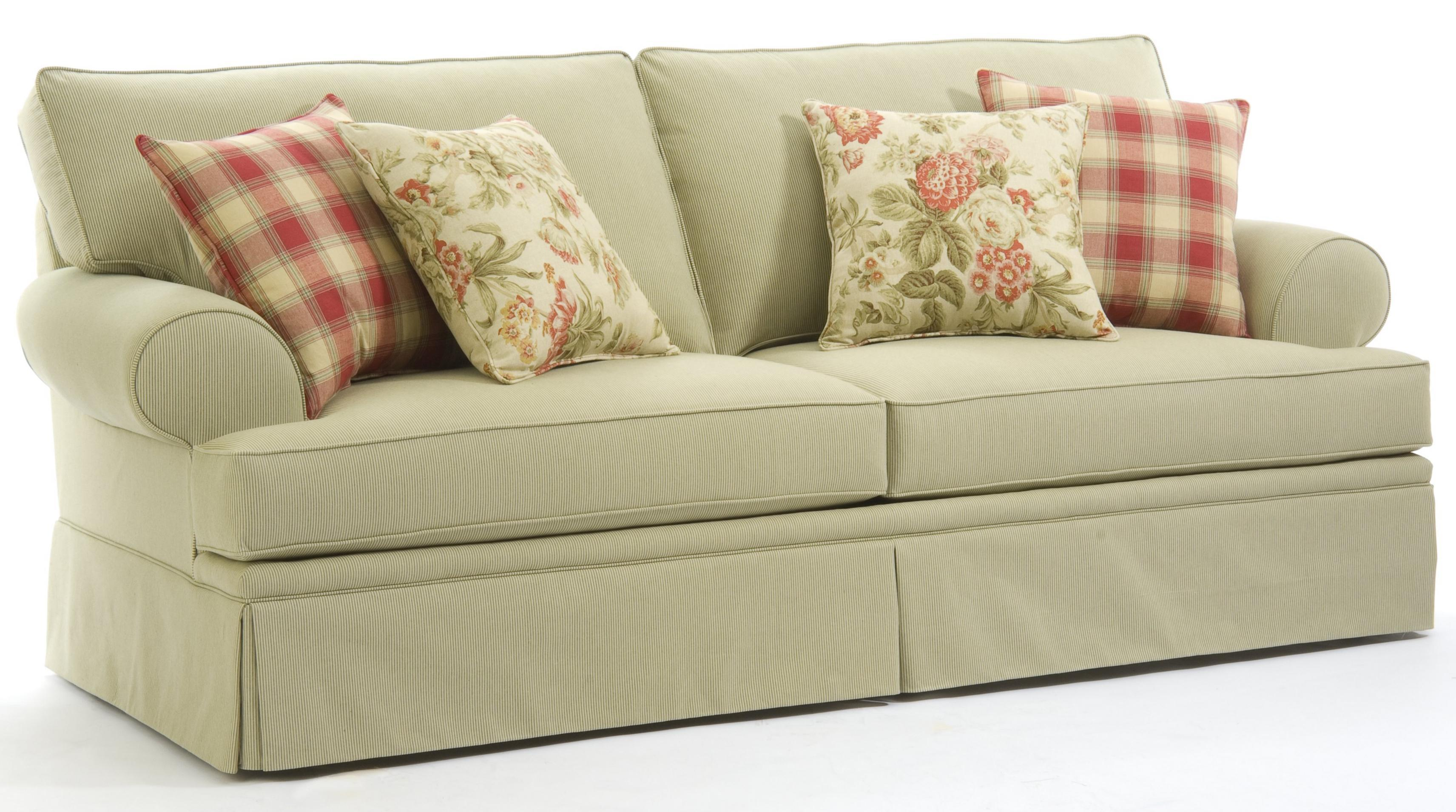 Broyhill Furniture Emily Casual Style Sofa With Rolled Arms And Skirt Covered Base Darvin