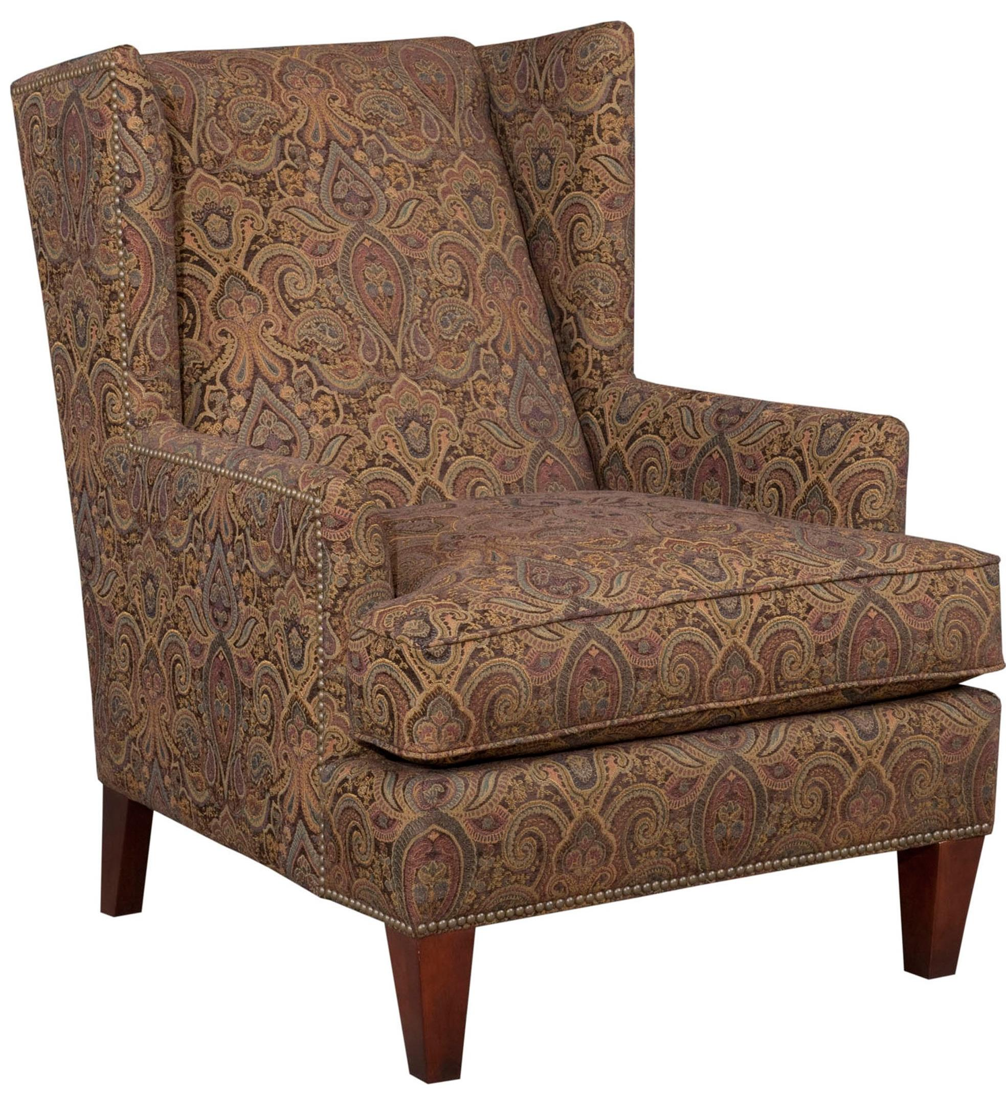 Broyhill Furniture Accent Chairs And Ottomans Lauren Chair Contemporary Wing Chair With Brass