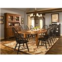Broyhill Furniture Attic Heirlooms Windsor Arm Chair - 5397-84b - Shown with Rectangular Leg Table, Windsor Side Chairs and Buffet and Hutch