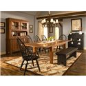 Broyhill Furniture Attic Heirlooms Windsor Arm Chair - 5397-84b - Shown with Rectangular Leg Table, Windsor Side Chairs, Bench and Buffet/Hutch