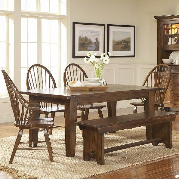broyhill furniture attic rustic 7 piece dining set - wayside