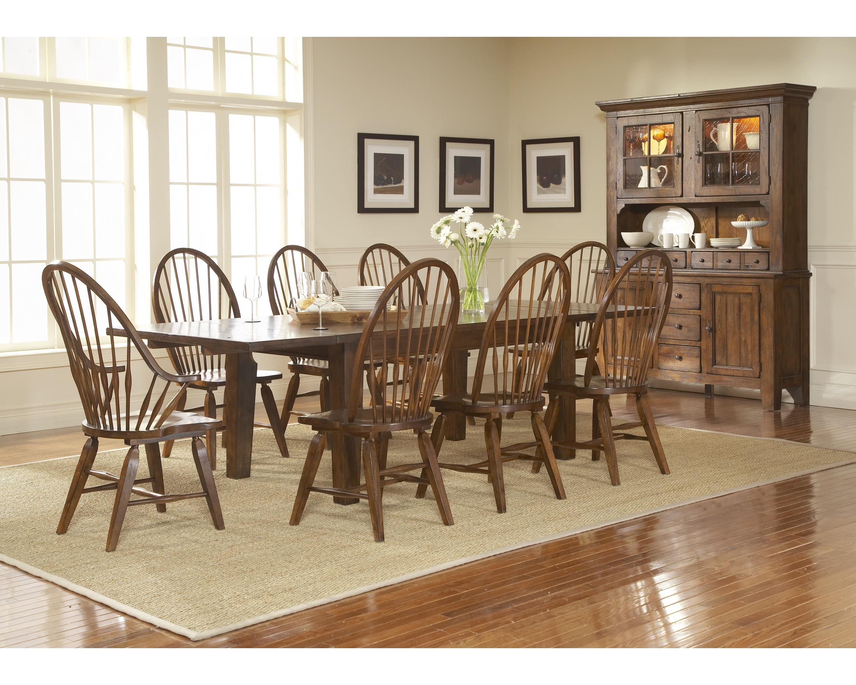 Broyhill furniture attic rustic 5399 42v leg dining table for Broyhill dining room furniture