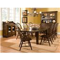 Broyhill Furniture Attic Heirlooms Leg Dining Table With Leaves - Shown with Windsor Side Chair, Arm Chair and China Hutch