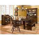 Broyhill Furniture Attic Heirlooms Leg Dining Table With Leaves - Shown with Windsor Arm Chair, Bench and China Hutch