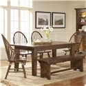 Broyhill Furniture Attic Rustic Windsor Arm Chair - Shown With Windsor Chairs, Bench, and Leg Dining Table