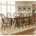 Broyhill Furniture Attic Rustic Windsor Arm Chair - Shown With Windsor Chairs and Leg Dining Table