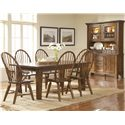 Broyhill Furniture Attic Rustic Windsor Arm Chair - Shown With Windsor Chairs, Leg Dining Table, and China Base With Deck