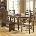 Broyhill Furniture Attic Heirlooms Seat Bench - Shown With Extension Dining Table, Ladder Back Arm Chairs, and Ladder Back Side Chairs