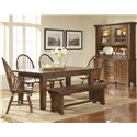 Broyhill Furniture Attic Heirlooms Seat Bench - Shown With Windsor Arm Chairs, Windsor Chairs, Leg Dining Table, and China Base and Deck