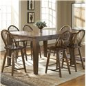 Broyhill Furniture Attic Rustic Windsor Counter Stool - 5399-97 - Shown With Counter Dining Table